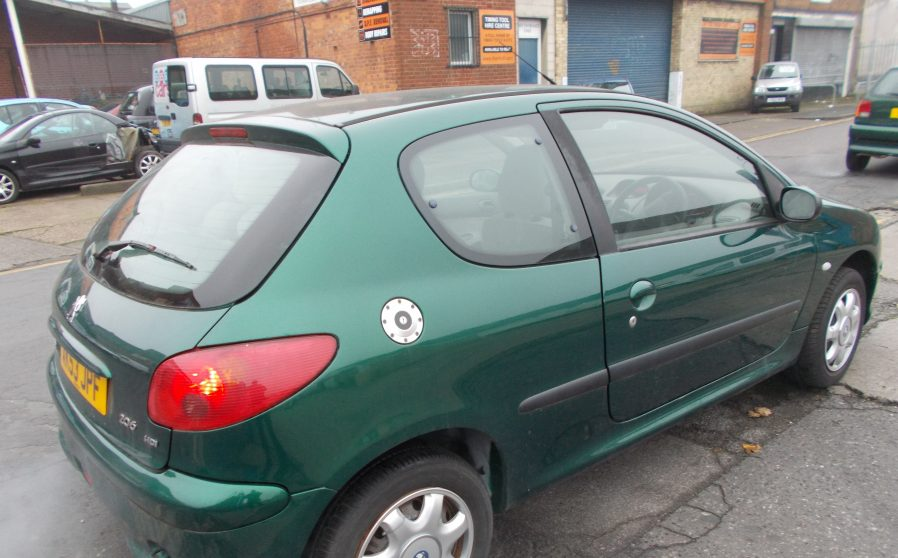 Peugoet 206 Green Back Offside.